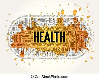 健康, 単語, コラージュ, 雲, フィットネス
