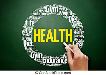 健康, 単語, 雲, コラージュ