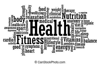 健康, 単語, 雲, フィットネス
