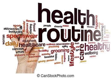 健康, 単語, 雲, ルーチン
