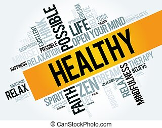 健康, 単語, 雲