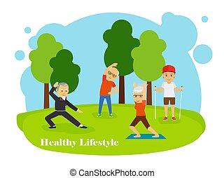 健康, 古い, ライフスタイル, 人々