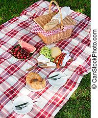 健康, 夏, 広がり, ピクニック, おいしい