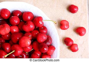 健康, 多汁, 新鮮, 有机, 櫻桃, 在, 水果碗, 關閉, 向上。, 櫻桃, 在, 背景。