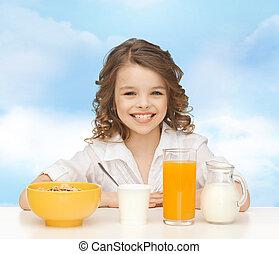 健康, 女の子, 朝食を食べること, 幸せ