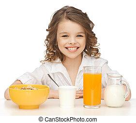 健康, 女の子, 朝食