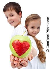 健康, 子供, アップル, 保有物, 幸せ