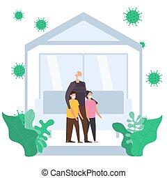 健康, 孫, 医学, マスク, covid-19., 自己, 心配, に対して, 概念, ウイルス, 家, 祖父, とどまること, quarantine., コロナ, 家族, 身に着けていること