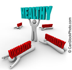 健康, ∥対∥, 不健康, 1人の人, 良い健康, フィットネス
