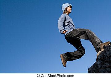 健康, 屋外で, ロッククライミング, 子供, 遊び, 幸せ