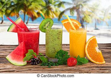 健康, 新たに, 飲み物, フルーツ, ジュース