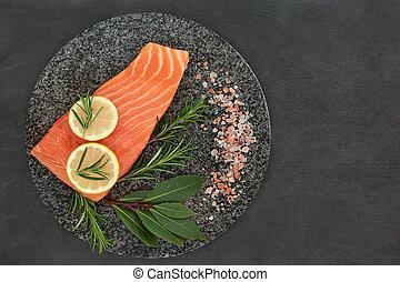 健康, 新鮮なサケ, 食物