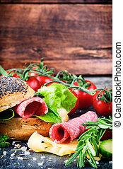 健康, 新鮮, 三明治, 成分