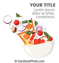 健康, 新鲜的蔬菜, 同时,, 绿色的叶片, 色拉, 盘, 矢量, 形象