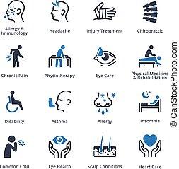 健康, 條件, &, 疾病, -, 藍色, 系列