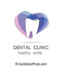 健康, 歯医者の, 医院, テンプレート, 微笑, ロゴ