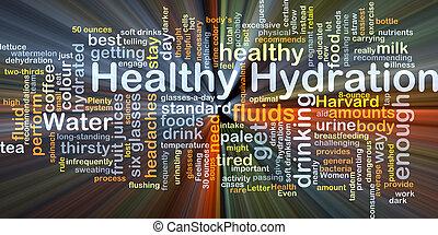 健康, 水合, 背景, 概念, 發光