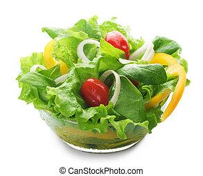 健康, 沙拉, 在上方, 白色