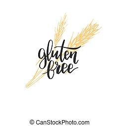 健康, 無料で, gluten, 農場, logo., eco, 有機体である, lettering., illustration., タグ, packaging., プロダクト, 食物, 手の 印, ベクトル