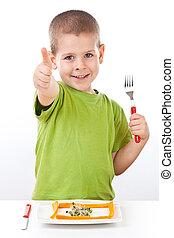 健康, 男の子, わずかしか, サラダ