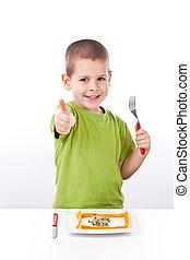 健康, 男の子, 若い, サラダ