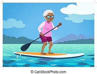 健康, 監視, シニア, かいで漕ぐ, 水, アメリカ人, の上, board., アフリカ, 活動的, 祖母, ...