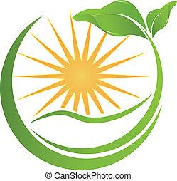 健康, 自然, ロゴ, ベクトル