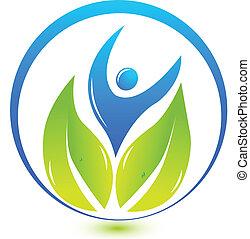健康, 自然, 人々, ロゴ