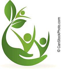 健康, 自然, 心配, ロゴ