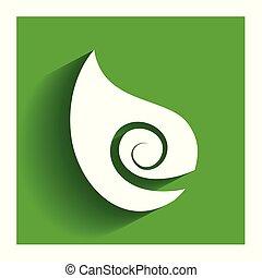 健康, 自然, swirly, 葉, ロゴ