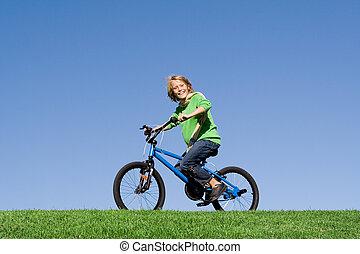 健康, 自転車, 屋外で, 乗馬, 子供, 遊び, 幸せ