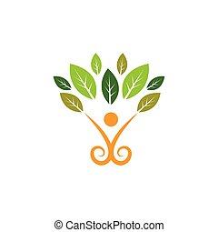 健康, 葉, 生活, アイコン, ベクトル, 人々, 概念