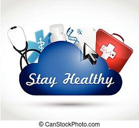 健康, 薬, 雲, イラスト, 滞在