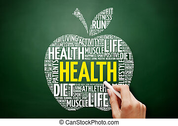 健康, 蘋果, 詞, 雲