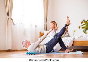 健康 訪客, 以及, 高階人, 在期間, 家, visit.