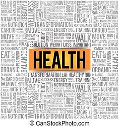 健康, 詞, 雲, 拼貼藝術
