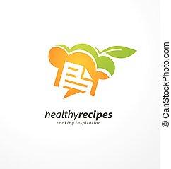 健康, 調理法, 料理, 創造的, デザイン, ロゴ, インスピレーシヨン
