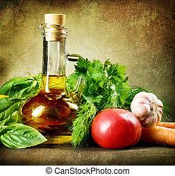 健康, 野菜, そして, オリーブ, oil., 型, スタイルを作られる