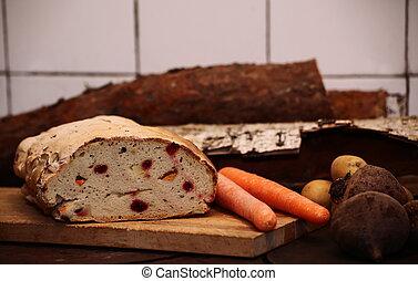 健康, 野菜, ルード, まな板, bread