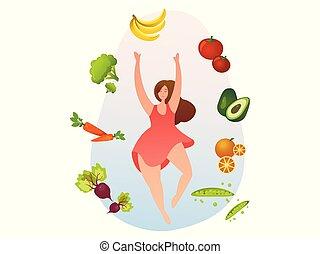 健康, 野菜, 女, 食物, fruits.