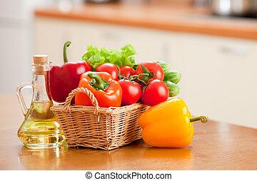 健康, 野菜, 食物, びん, sunflowe, バスケット, 新たに