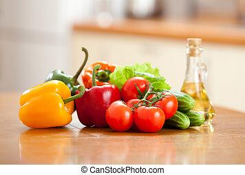 健康, 野菜, 食物, テーブル, 新たに, 台所