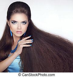 健康, 長, hair., 美麗, 黑發淺黑膚色女子, girl., 美麗, makeup., fashi