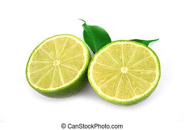 健康, 隔離された, フルーツ, 緑の白, ライム