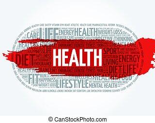 健康, 雲, 単語, フィットネス