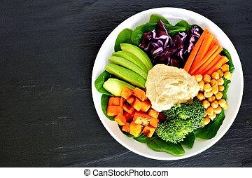 健康, 食物, 碗, 由于, super-foods, 以及, 新鮮的混合蔬菜, 在空中察看, 上, 黑暗, 板岩
