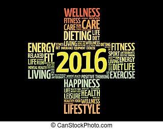 健康, 2016, 単語, ゴール, 雲
