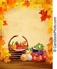 健康, basket., 野菜, イラスト, 食品。, 秋, ベクトル, 背景, 新たに
