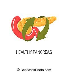 健康, concept., ベクトル, イラスト, 膵臓