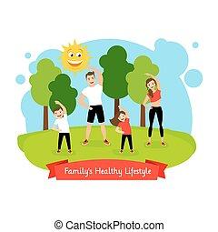 健康, familys, ライフスタイル, イラスト